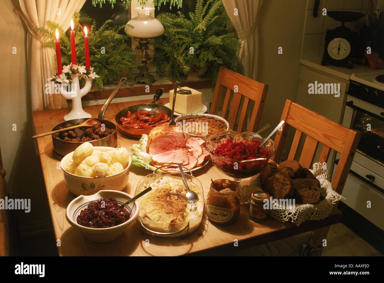 Swedish Christmas Bread.Swedish Christmas Table Or Julbord With Cheese Potatoes Beets