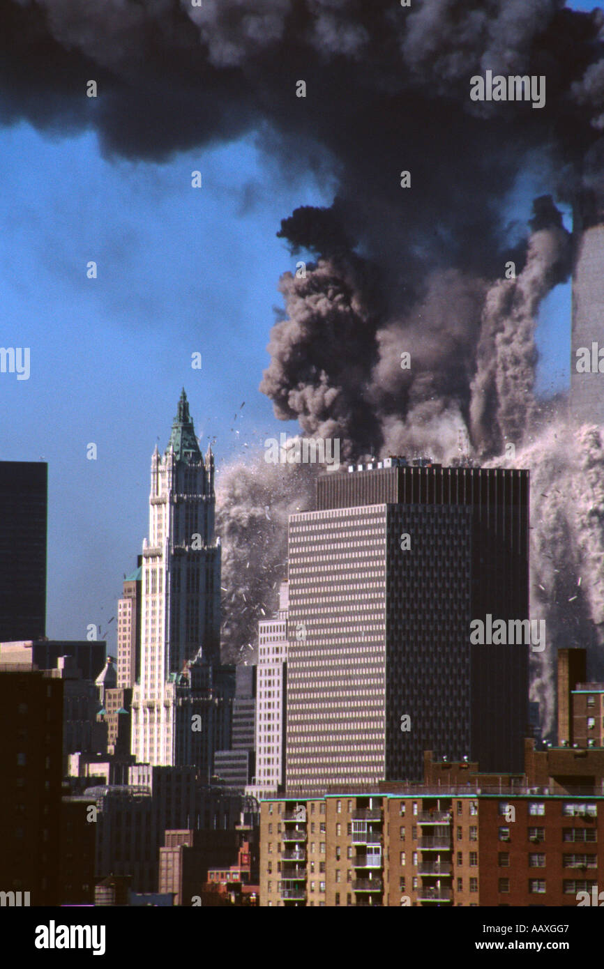 The world trade center collapsing on 9/11 2001, in New York City USA. - Stock Image