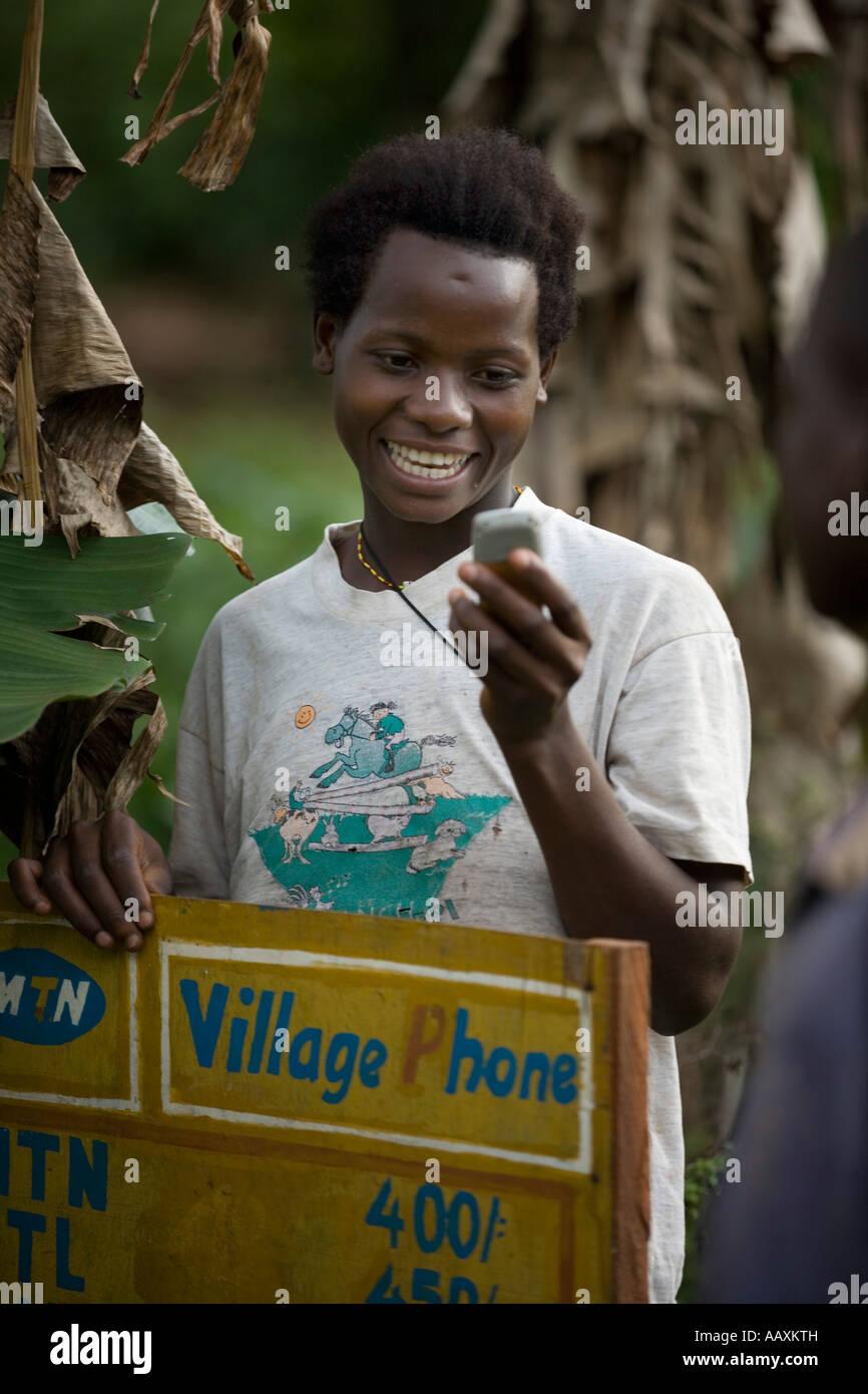 Village phones west of Kampala Uganda - Stock Image