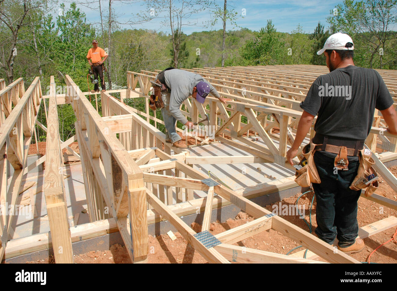 Rough Framing Crew From Mexico And Guadamala Working In Atlanta Usa