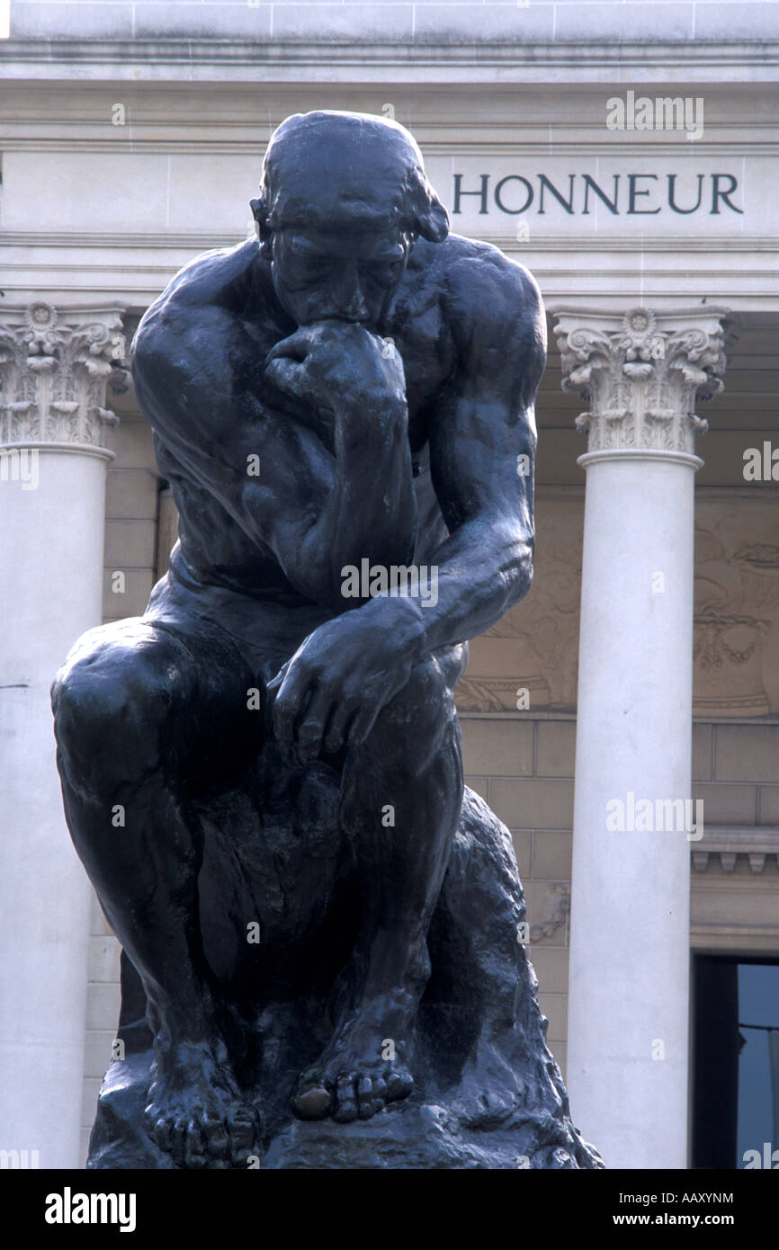 statue of the thinker at the legion of honor in San Francisco California vertical - Stock Image