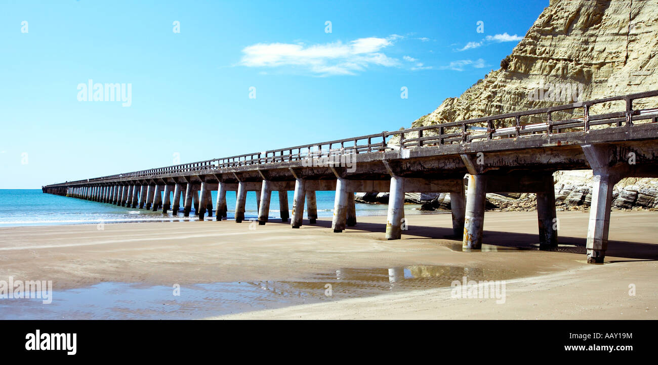 Wharf at tolaga bay East cape - Stock Image