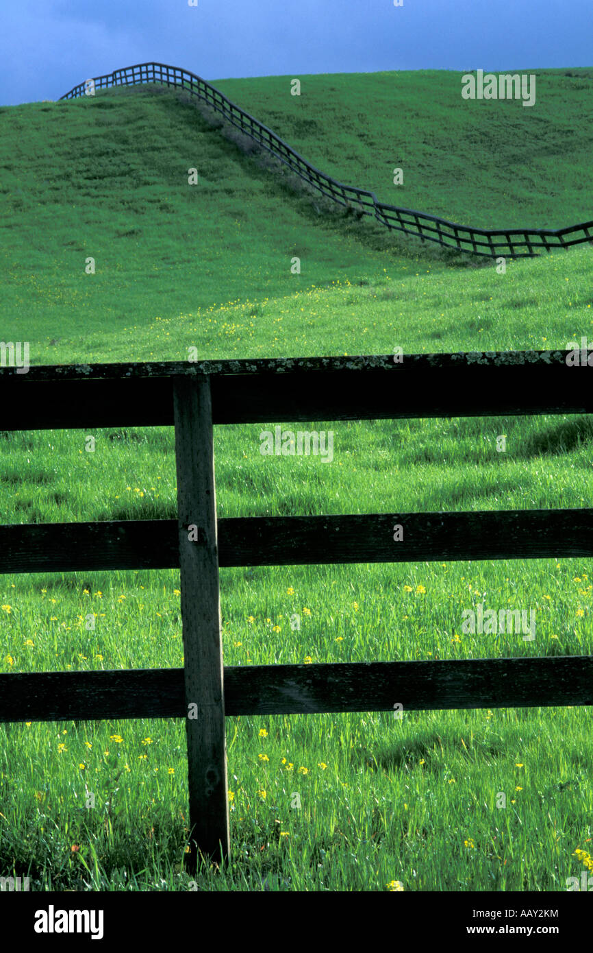 Fence on horse ranch showing rolling green hills in Danville California - Stock Image