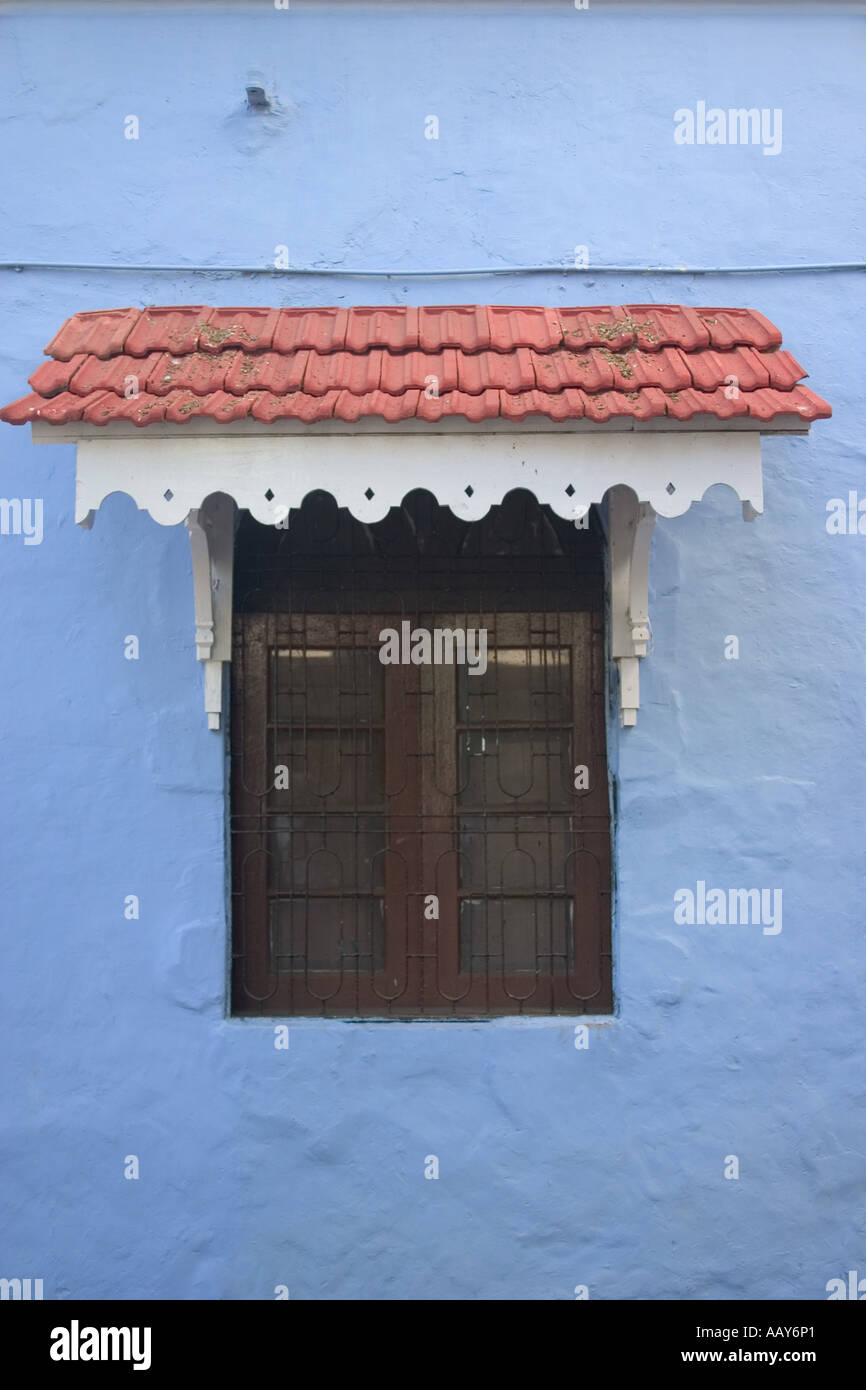RSC78665 Window Sun Shade Awning Blue Wall Red Tiles Goan Architecture Old Portugeese Structure Panjim Goa India