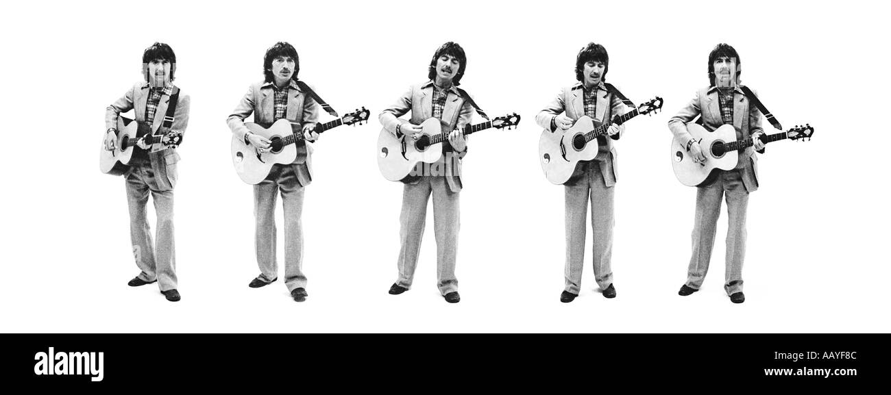 George Harrison of The Beatles monochrome toned composite of five shots. PER0047 - Stock Image
