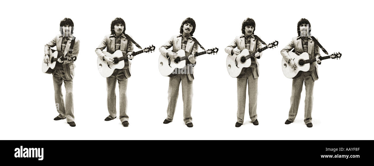 George Harrison of The Beatles sepia toned composite of five shots. PER0048 - Stock Image