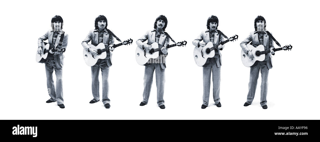 George Harrison of The Beatles blue toned composite of five shots. PER0049 Stock Photo