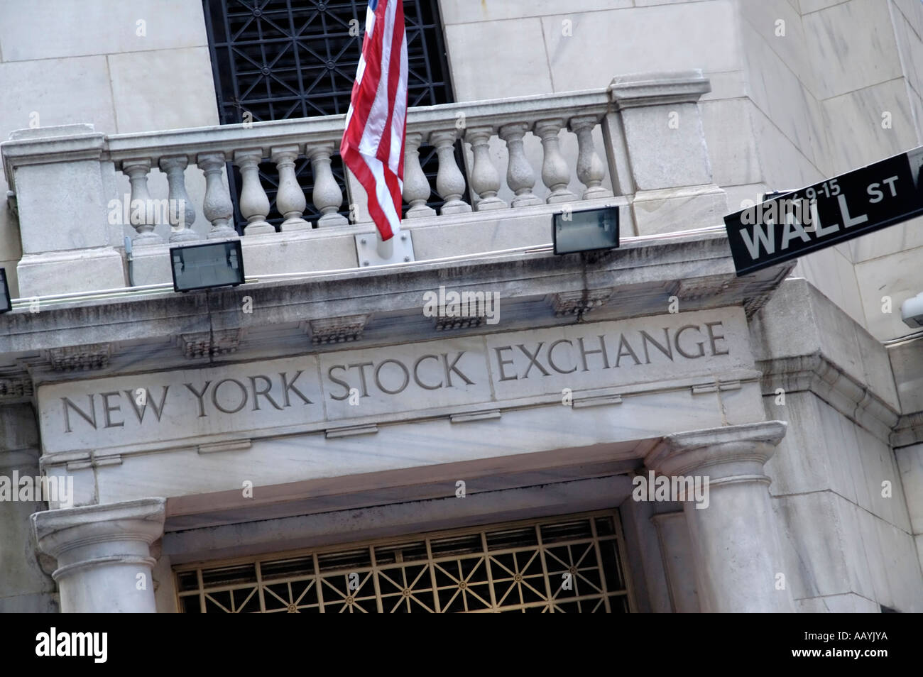 Wall Street entrance to New York Stock Exchange building - Stock Image