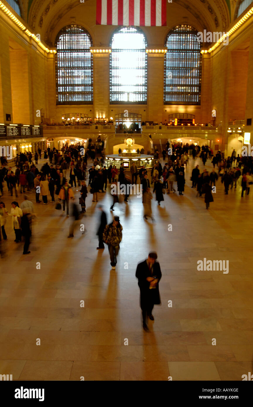 Grand Central Station terminal inside at rush hour - Stock Image