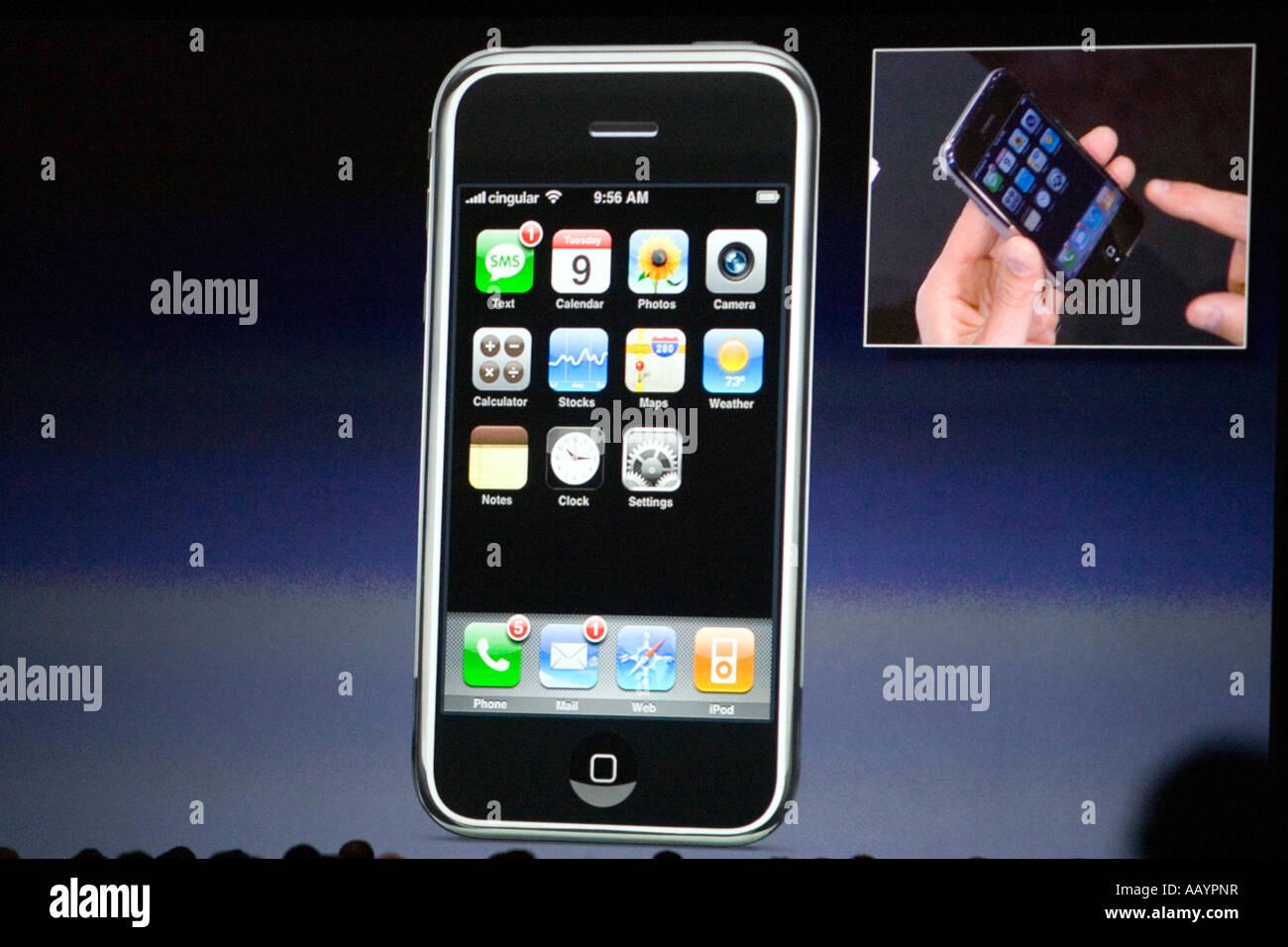 Steve Jobs iPhone Keynote speech on Tuesday January 9 2007 - Stock Image