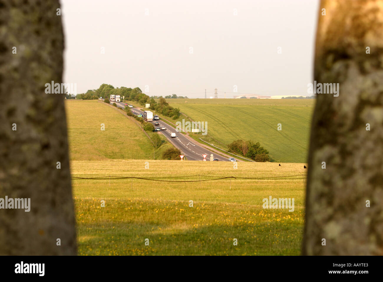 Stonehenge and main roads A303 A360 to be removed from view and bypassed with road tunnel Stock Photo