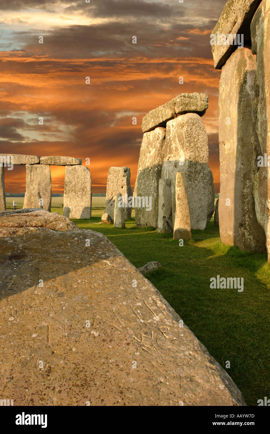 Stonehenge World Heritage Site in the heart of Wiltshire England enhanced sky Stock Photo