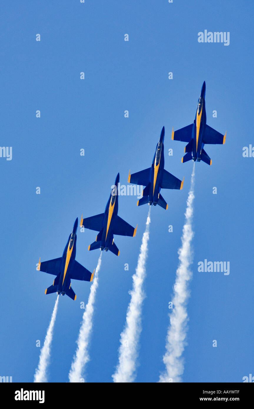 United States Navy Blue Angels FA18 Hornet Fighter Jets In Precision Team Flight During Air Show Thunder Over Louisville - Stock Image