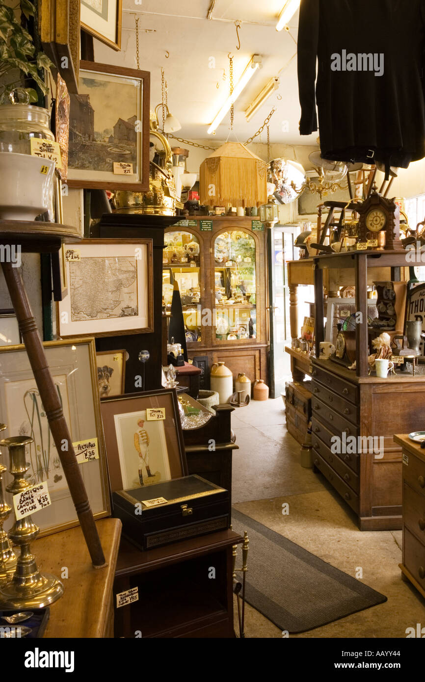 Antique store shop interior, UK - Stock Image
