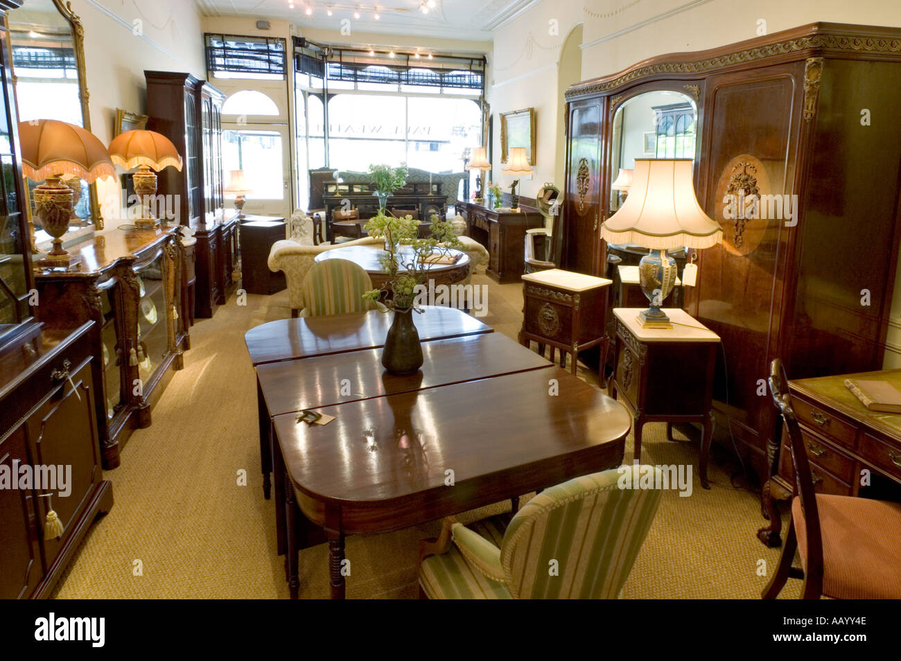 Antiques shop store interior England UK - Stock Image