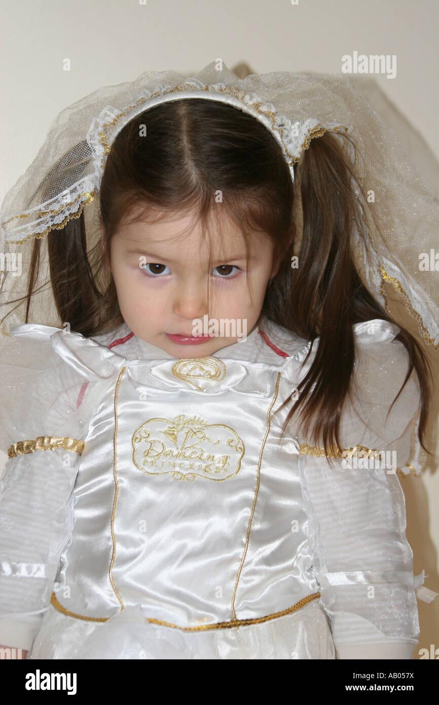 Little Girl White Dressing Gown Stock Photos & Little Girl White ...