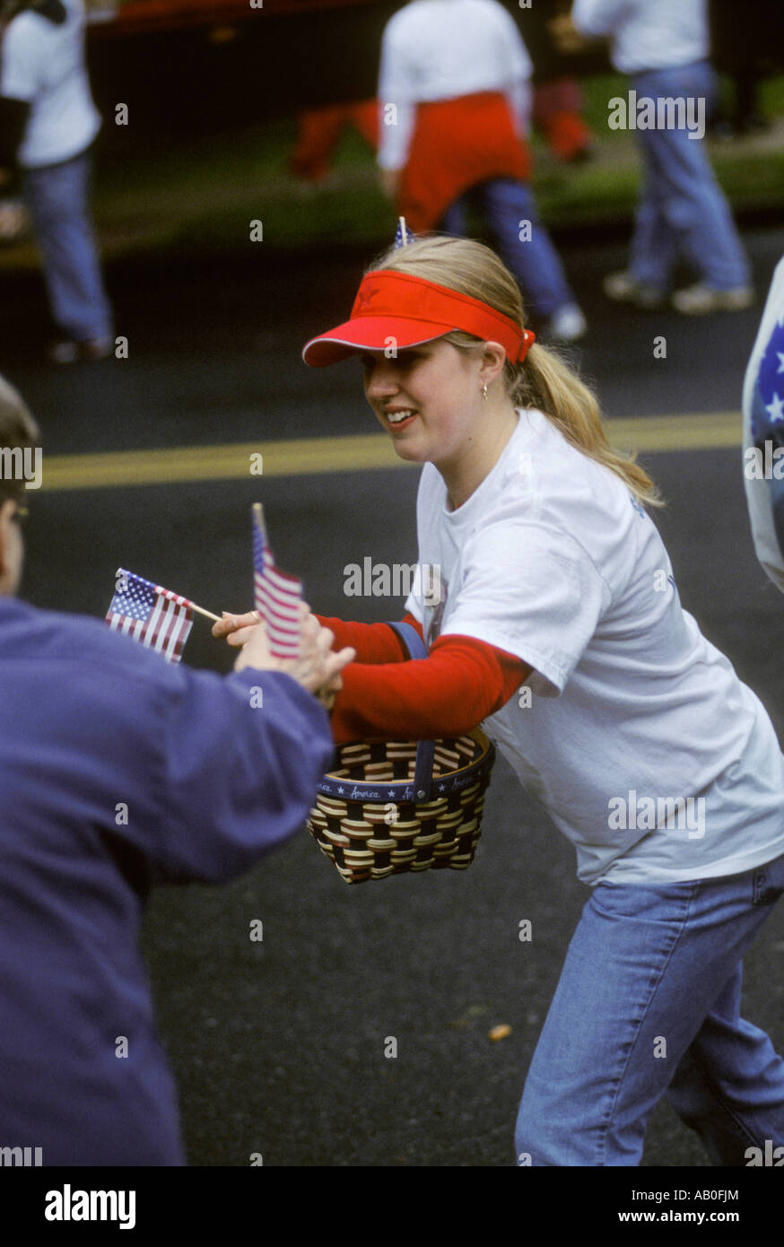 US USA America American young woman blonde ponytail red visor hat hand out  small town parade veteran memorial patriot patriotism 54120f0c70b