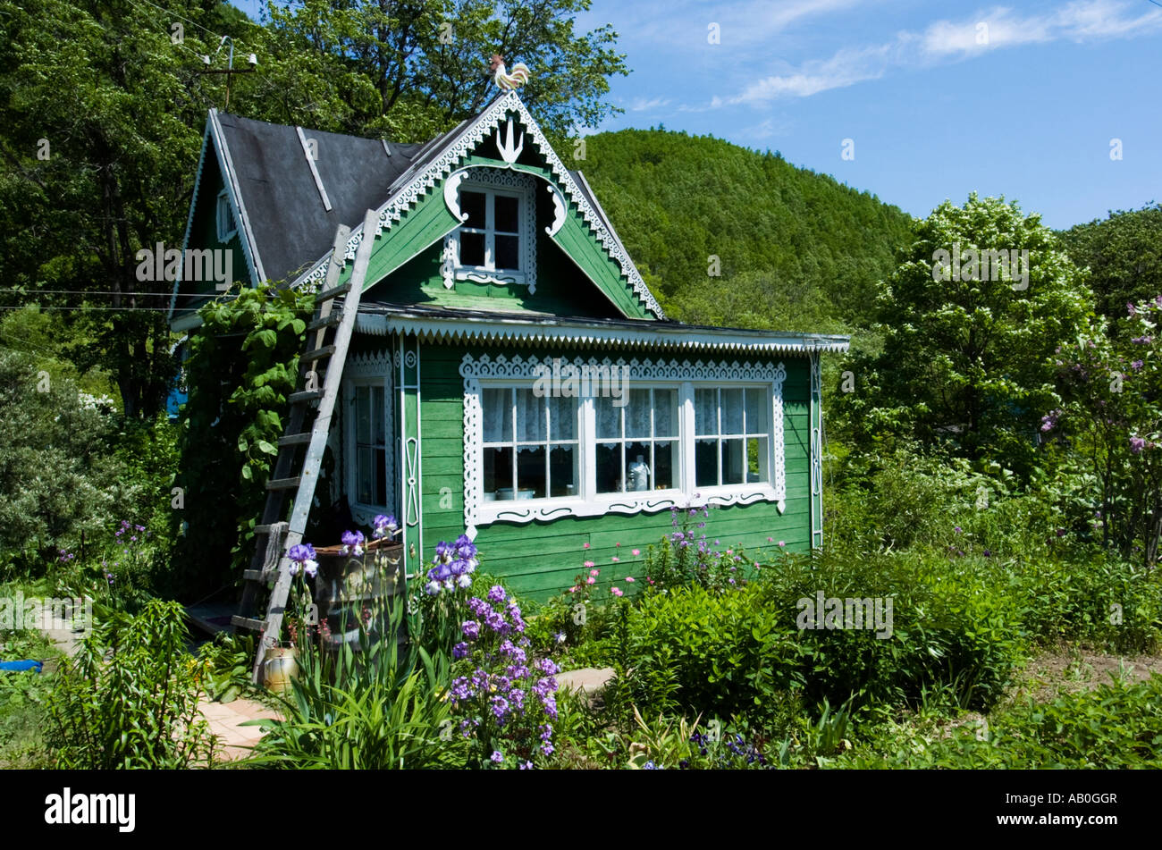 Beautiful wooden dacha cottage in rural Sakhalin Island Russia - Stock Image