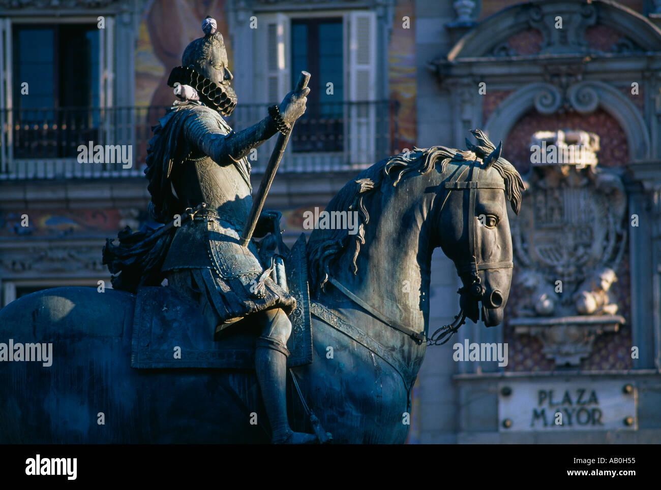 Phillip III Statue Plaza Mayor Madrid Spain - Stock Image