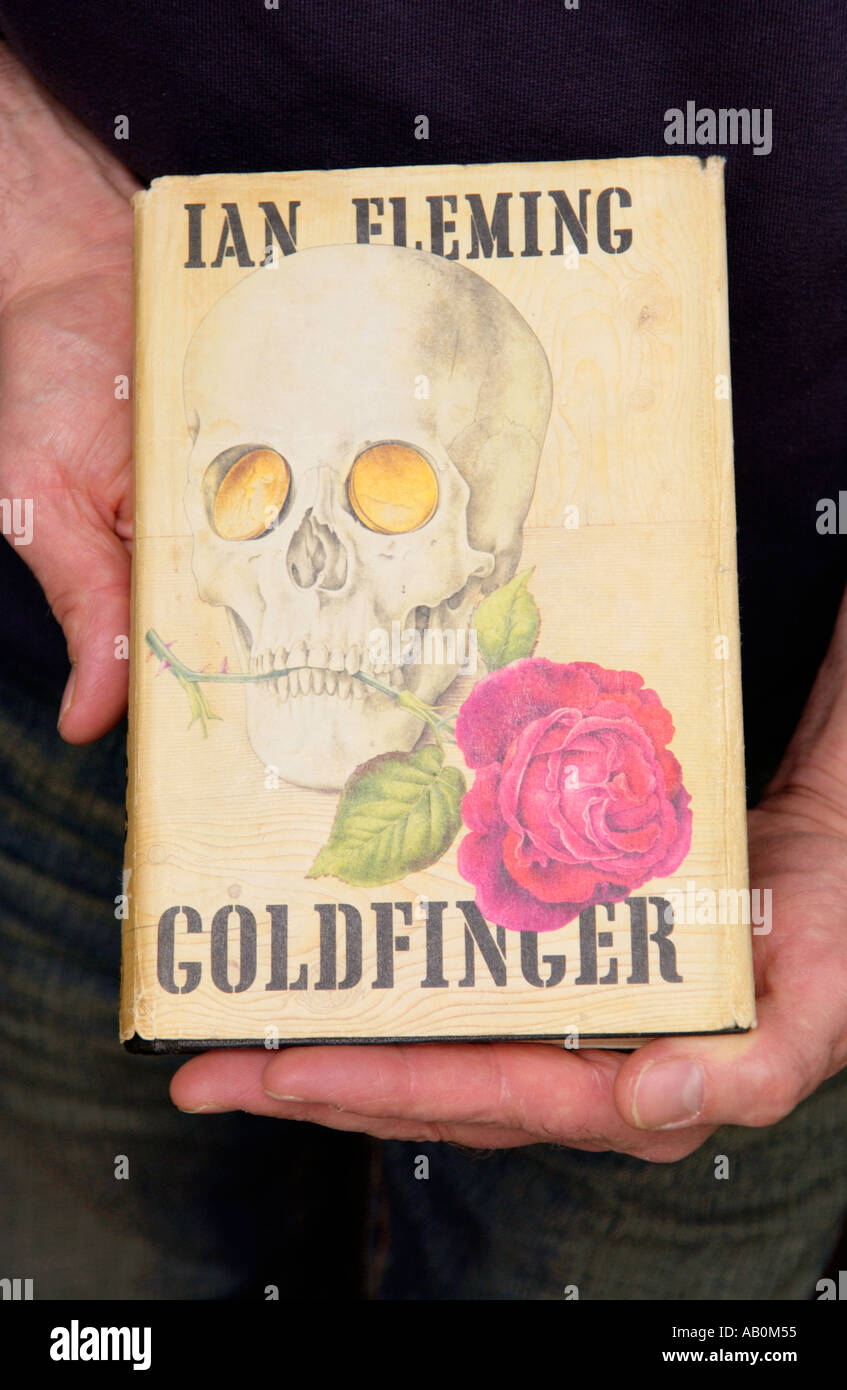 First edition GOLDFINGER by Ian Fleming in bookshop at Hay on Wye Powys Wales UK valued at £1000 - Stock Image