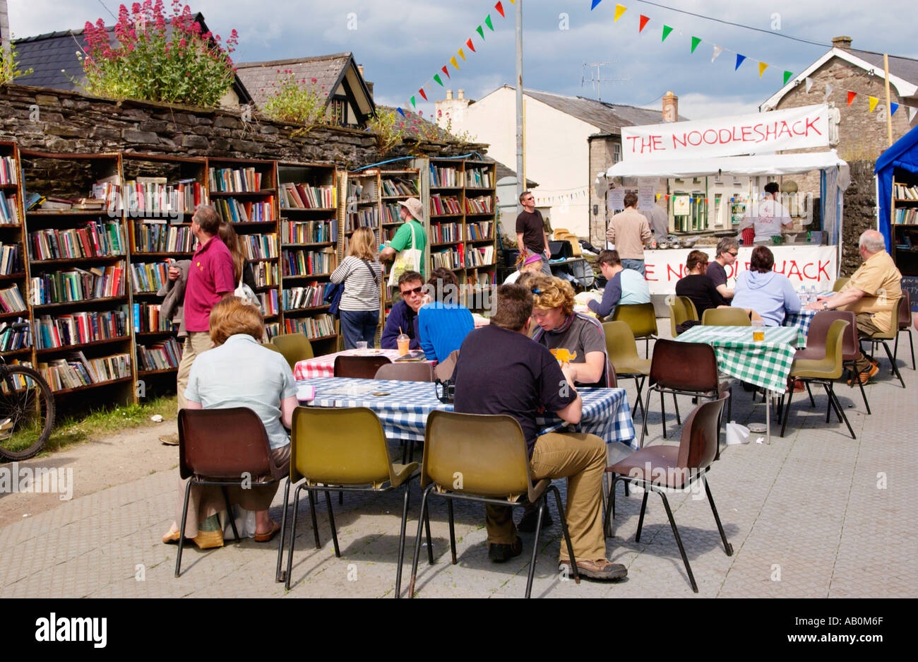 Food being served in the open air honesty bookshop at Hay Castle during the annual book festival Hay on Wye Powys Wales UK - Stock Image