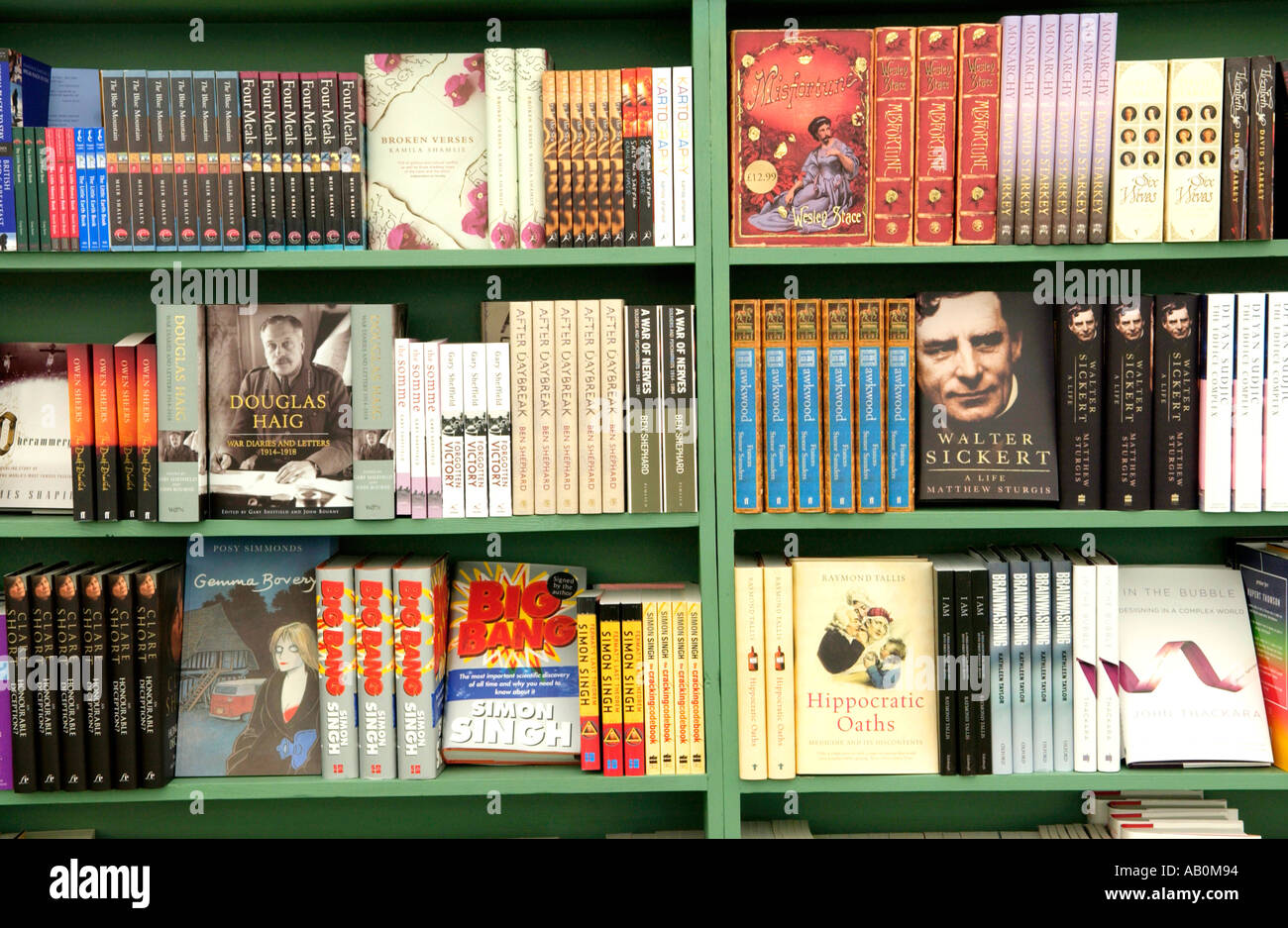 Books on the shelves at Pembertons bookshop on The Guardian Hay Festival 2005 site Hay on Wye Powys Wales UK - Stock Image