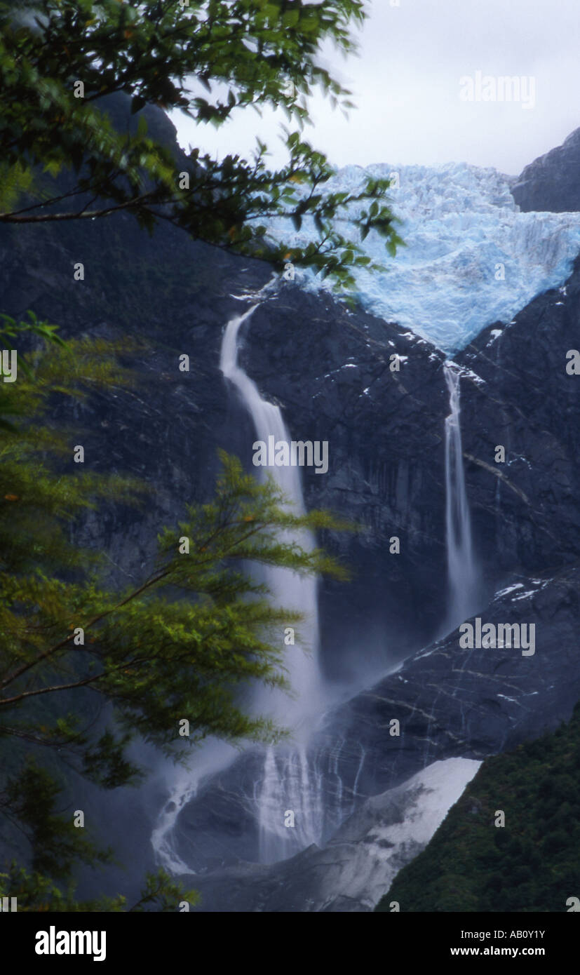 Hanging Glacier in Queulat National Park, Chile - Stock Image