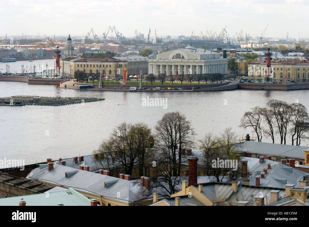 Old Saint Petersburg Stock Exchange and Rostral Columns. St Petersburg Stock Photo