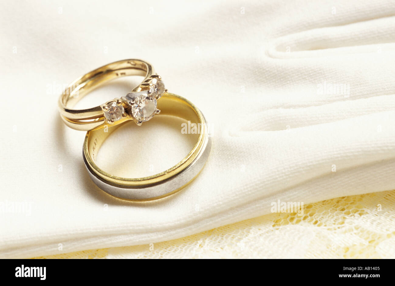 Wedding rings closeup - Stock Image