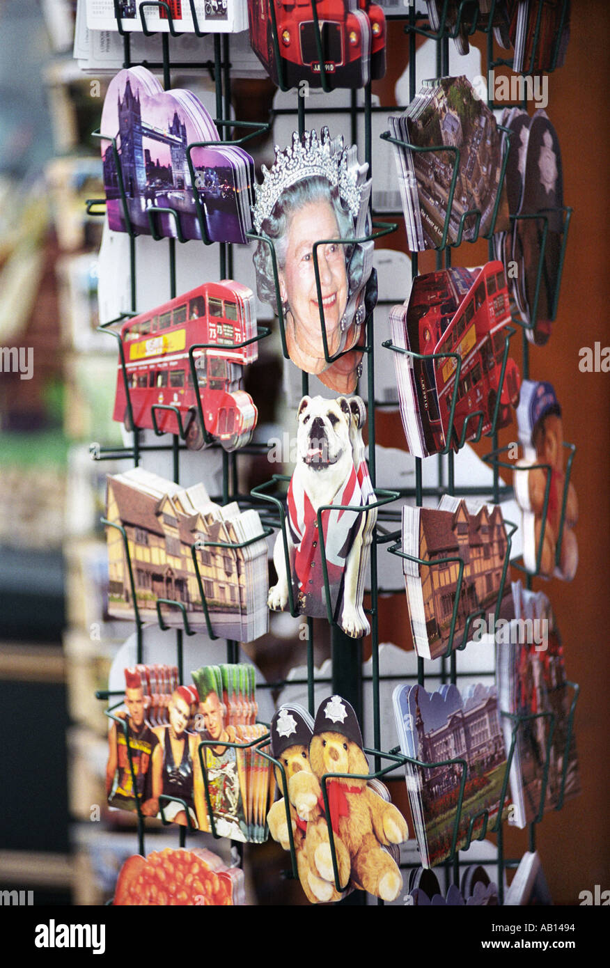English postcards on sale in Stratford on Avon UK - Stock Image