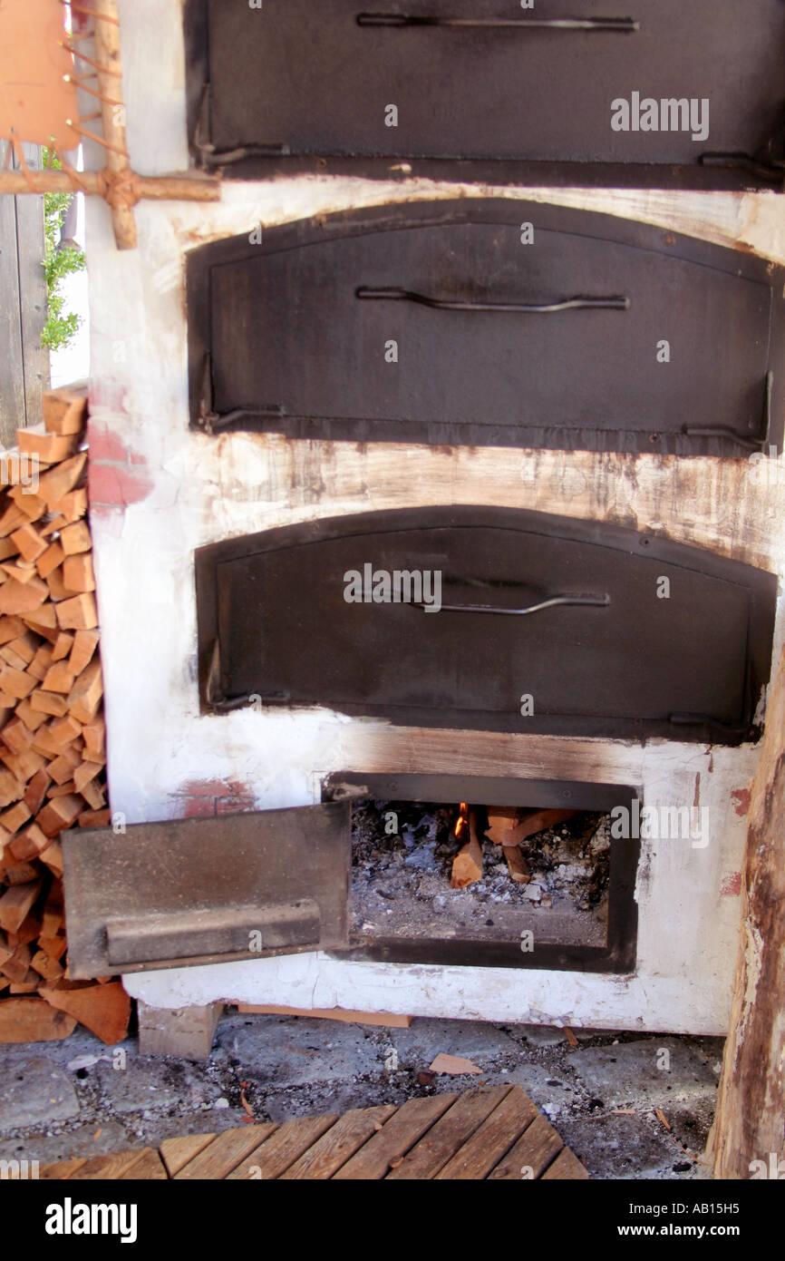 old wood burning oven close up in Bavaria Germany - Stock Image