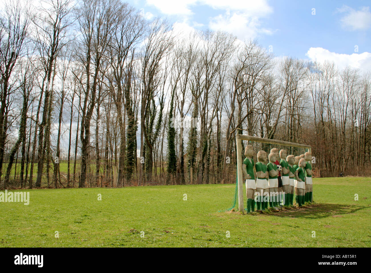 football soccer team at park of Buchheim Museum Bernried Lake Starnberg Bavaria Germany - Stock Image