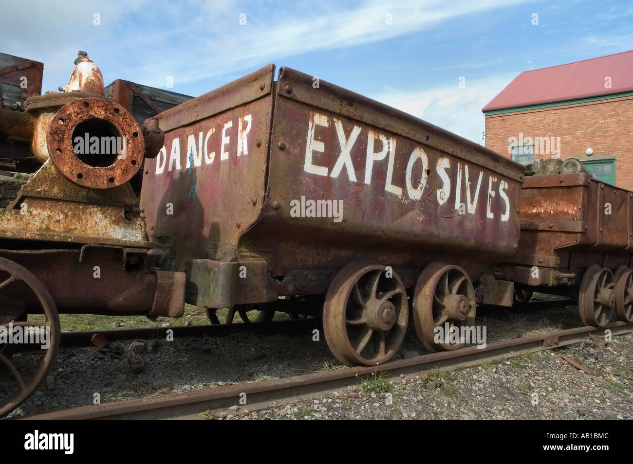 Explosives Wagon at Big Pit National Coal Museum, Blaenavon, South Wales UK - Stock Image
