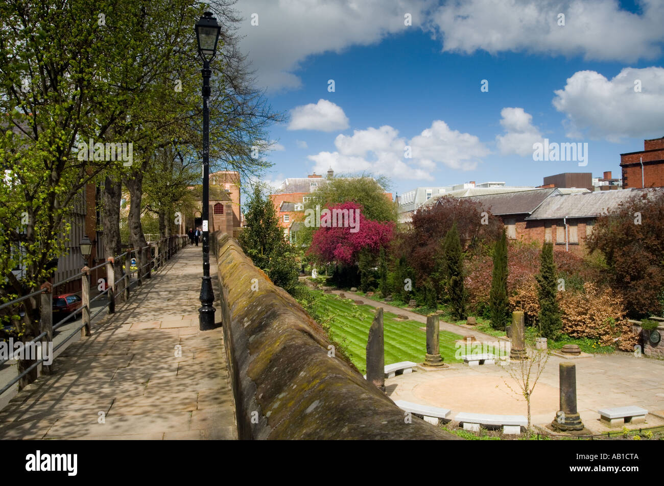 The Roman Gardens Viewed from the City Walls in Spring, Chester ...