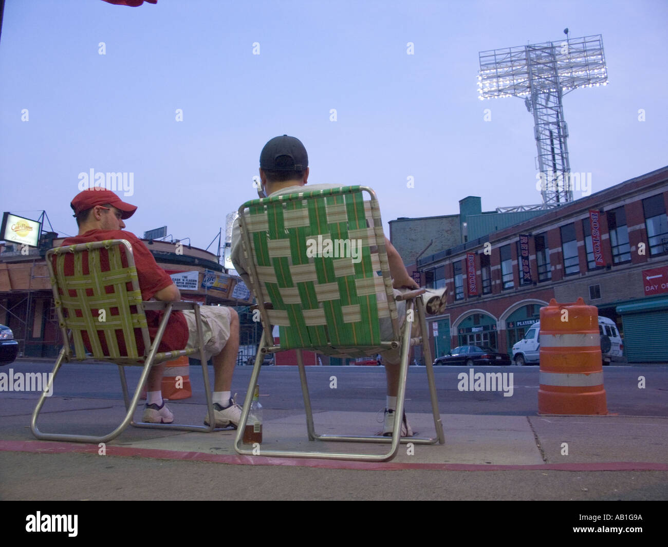 Fans outside Fenway Park Baseball stadium on a game day - Stock Image