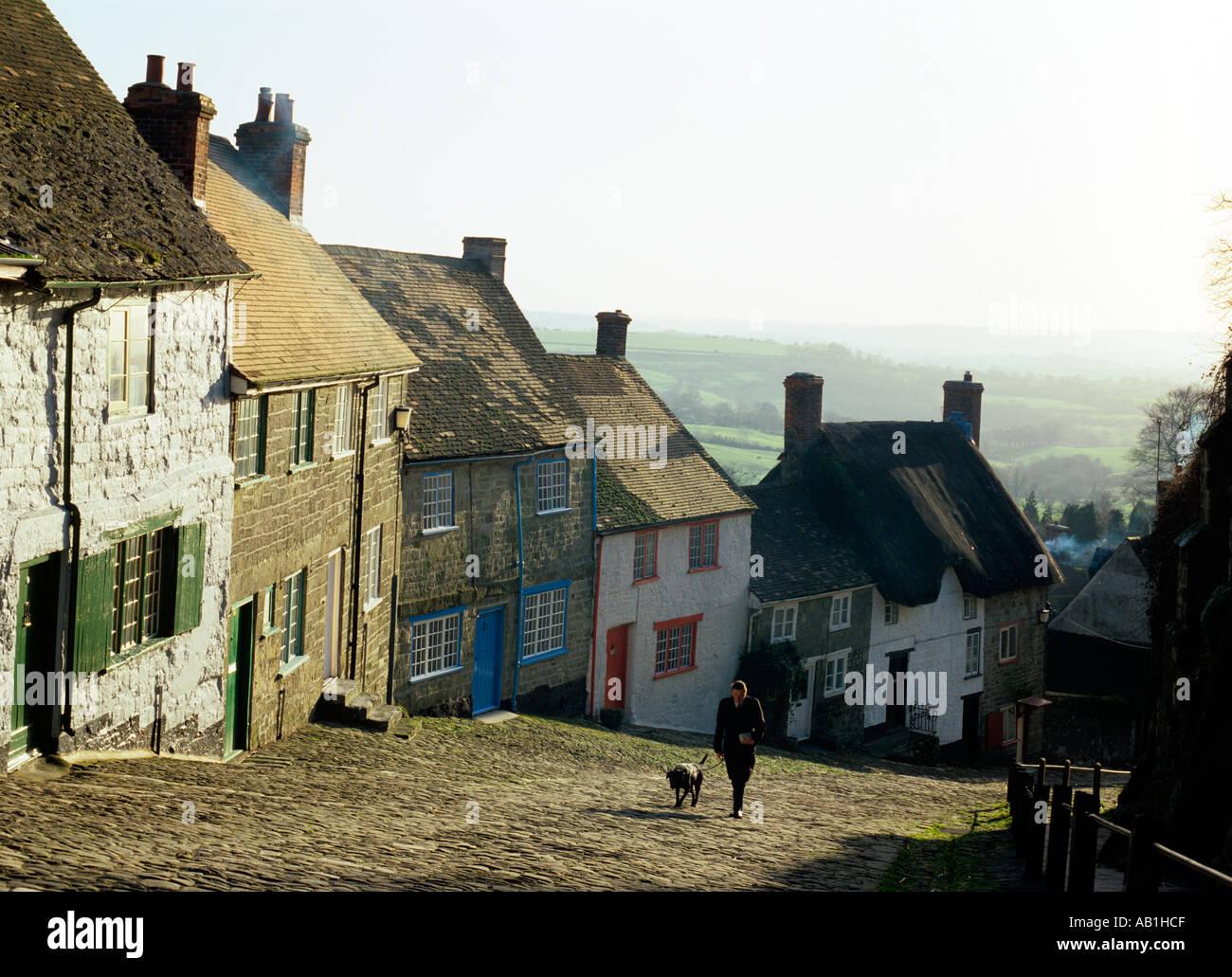 Dorset Shaftesbury Gold Hill - Stock Image