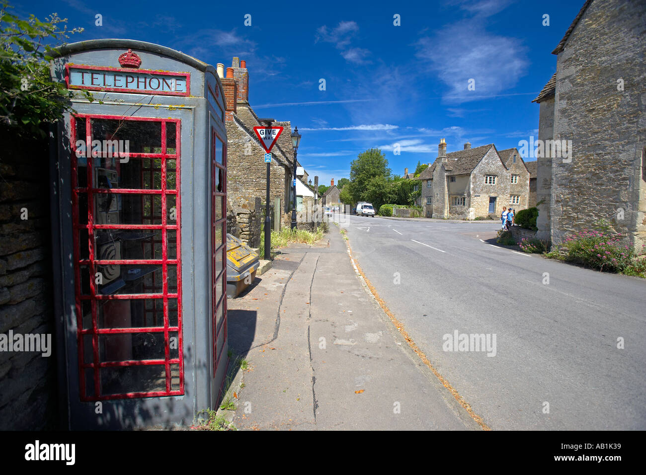 Grey Telephone Kiosk in the Village of Lacock, Wiltshire, England, UK - Stock Image