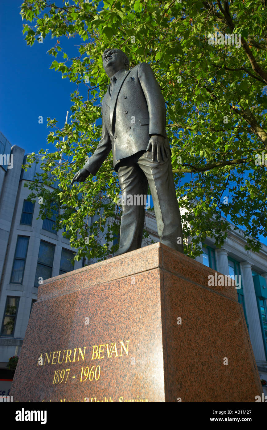 Statue of Aneurin Bevan, Cardiff, South Wales, UK - Stock Image
