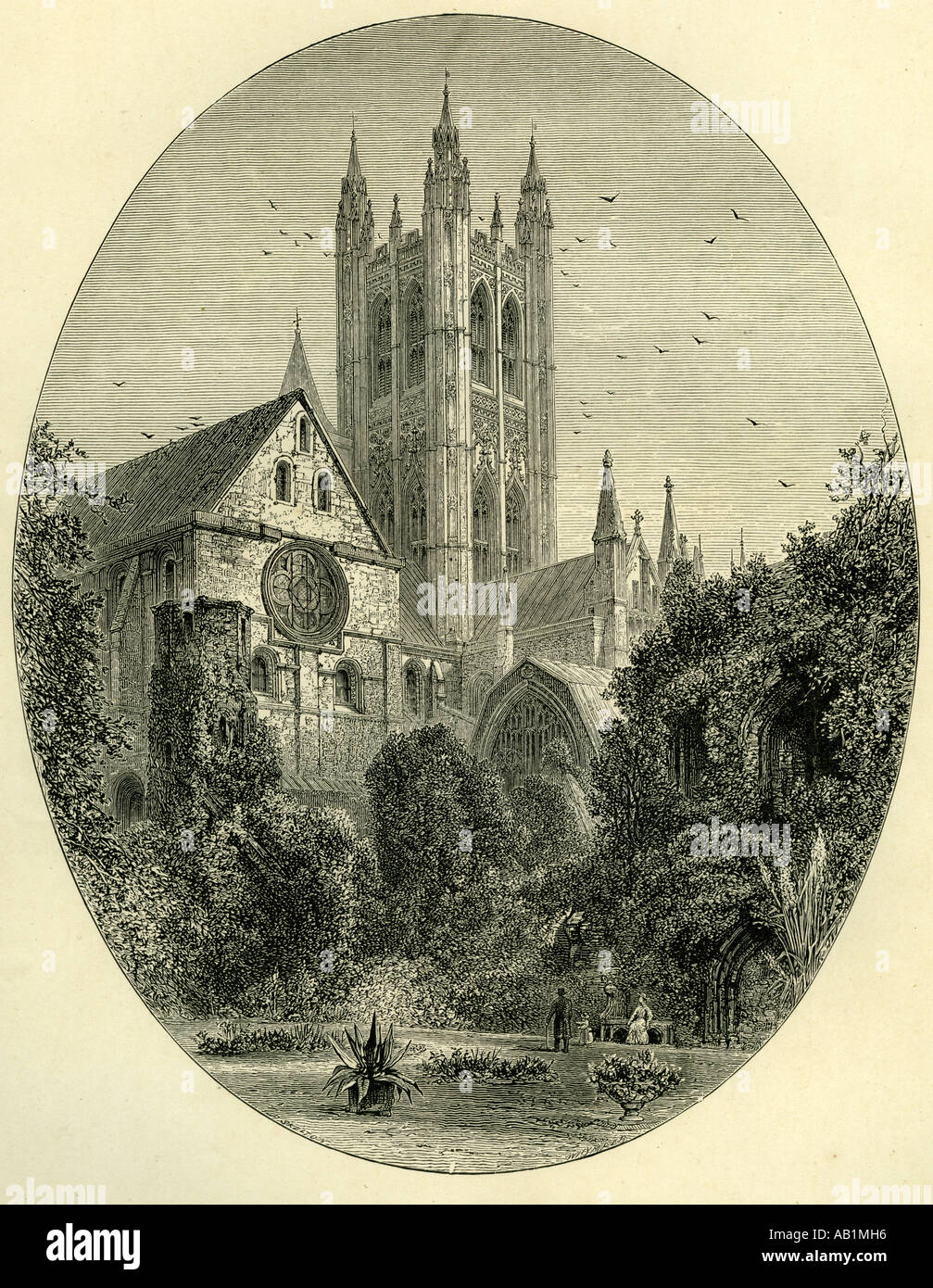 Canterbury UK 19th century The Bell Harry Tower - Stock Image