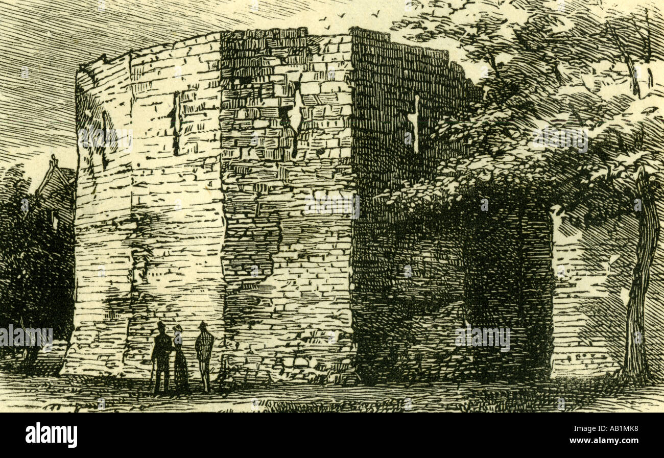 Britain York 1881 Roman multangular tower UK - Stock Image