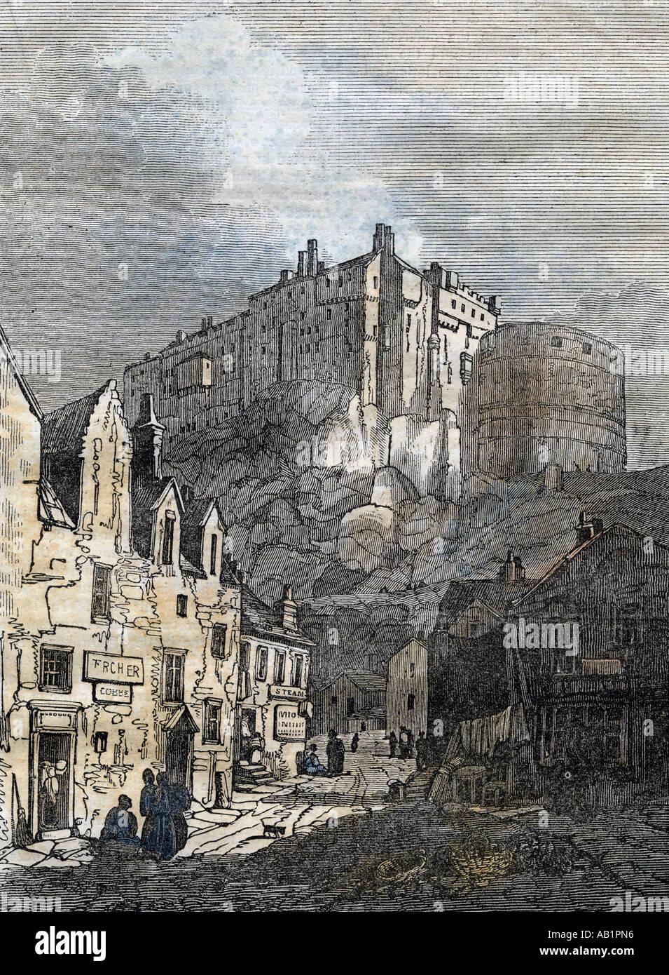 U K Scotland Edinburgh Edinburgh Castle 1833 - Stock Image