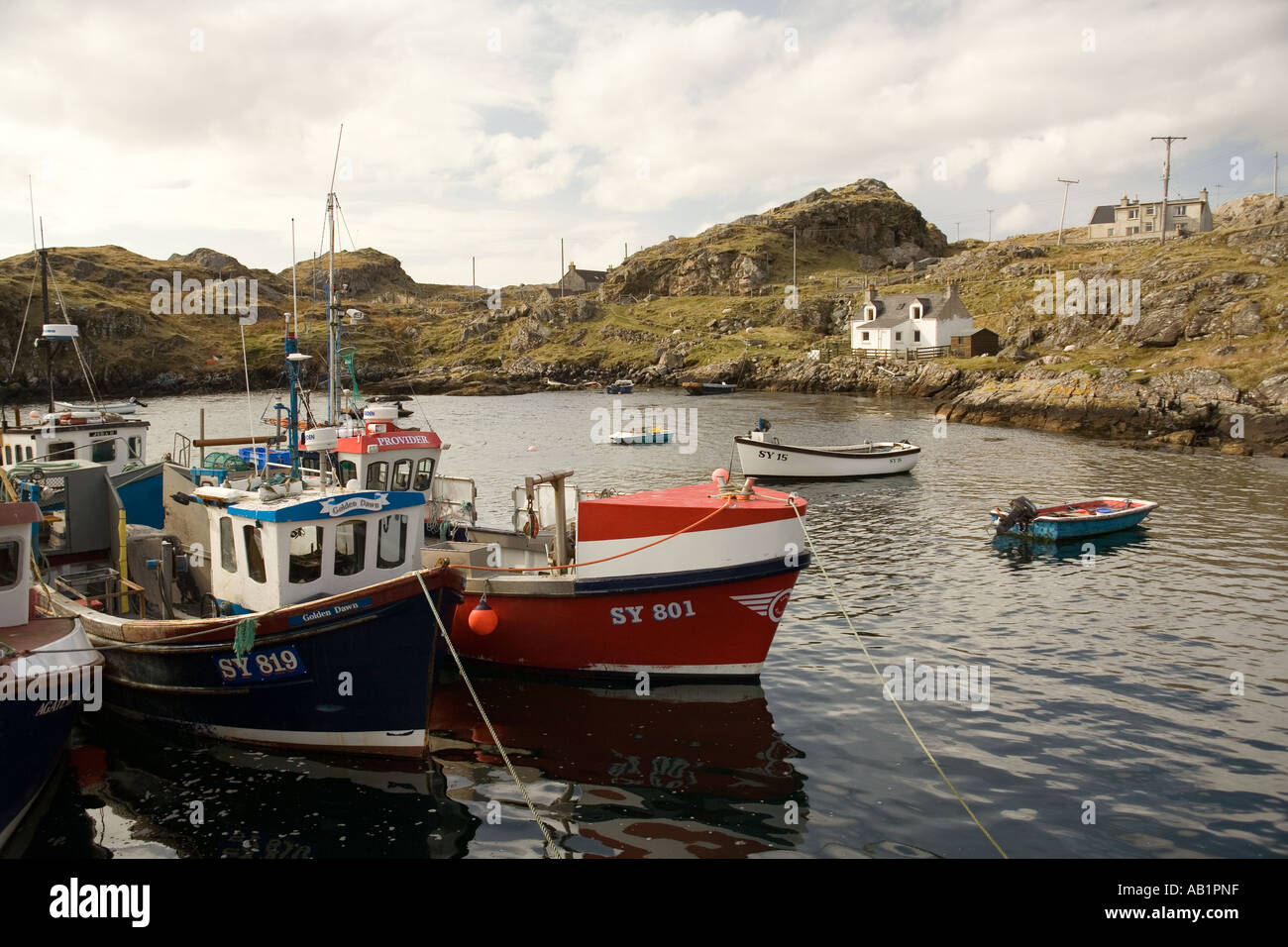 UK Scotland Western Isles Outer Hebrides Harris fishing boats in Stock Photo: 7285214 - Alamy