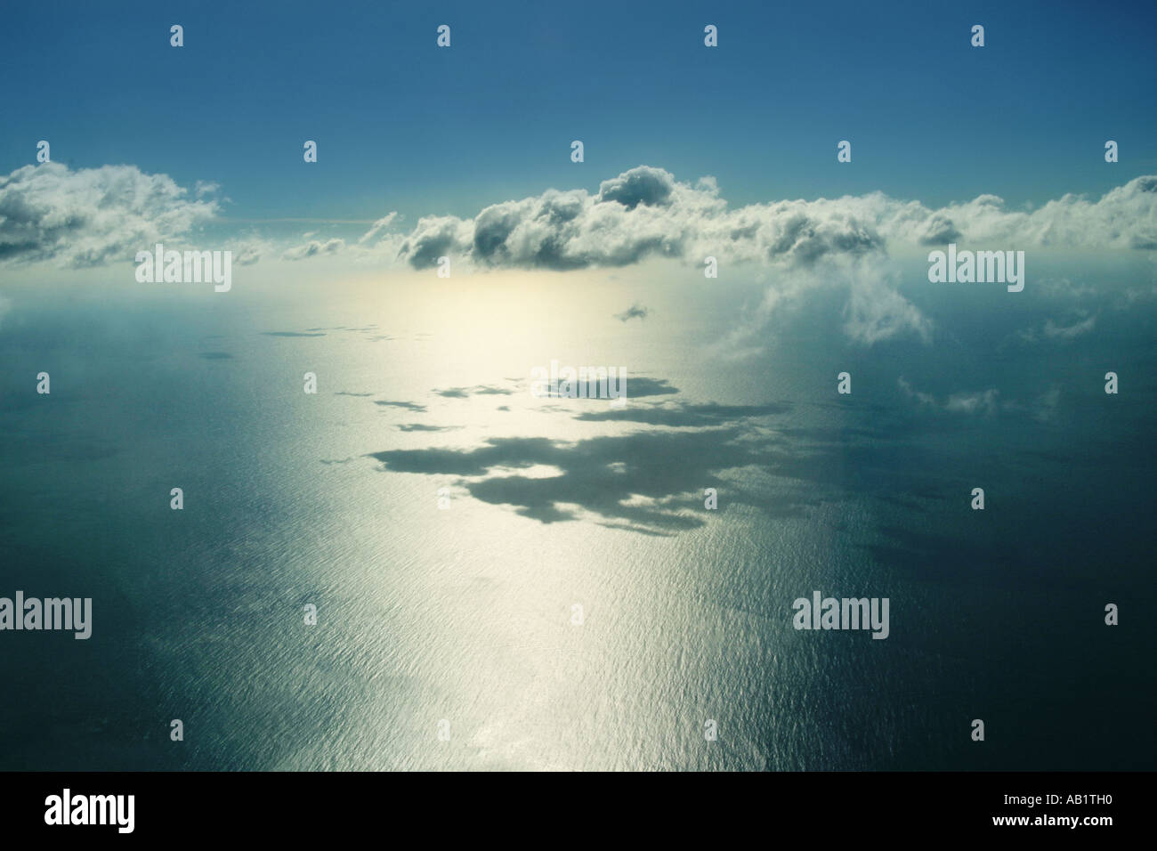 view of clouds from an aeroplane - Stock Image