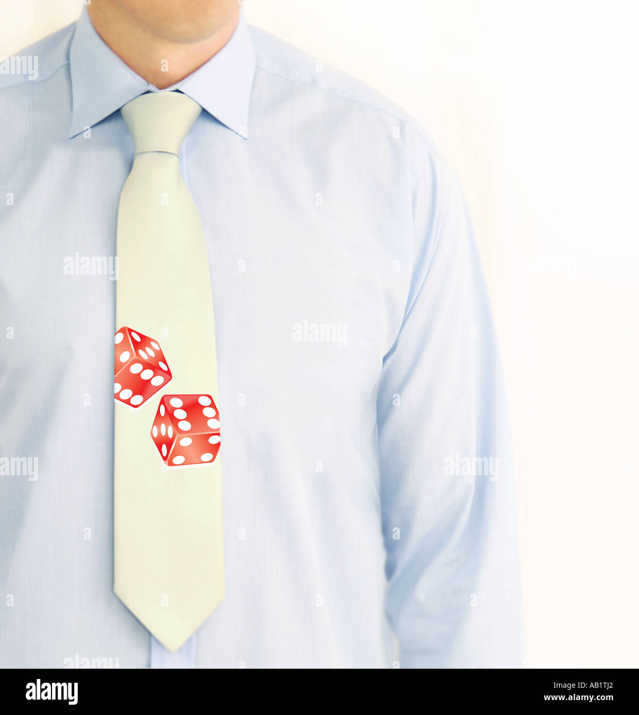 a businessman with dice on his tie - Stock Image