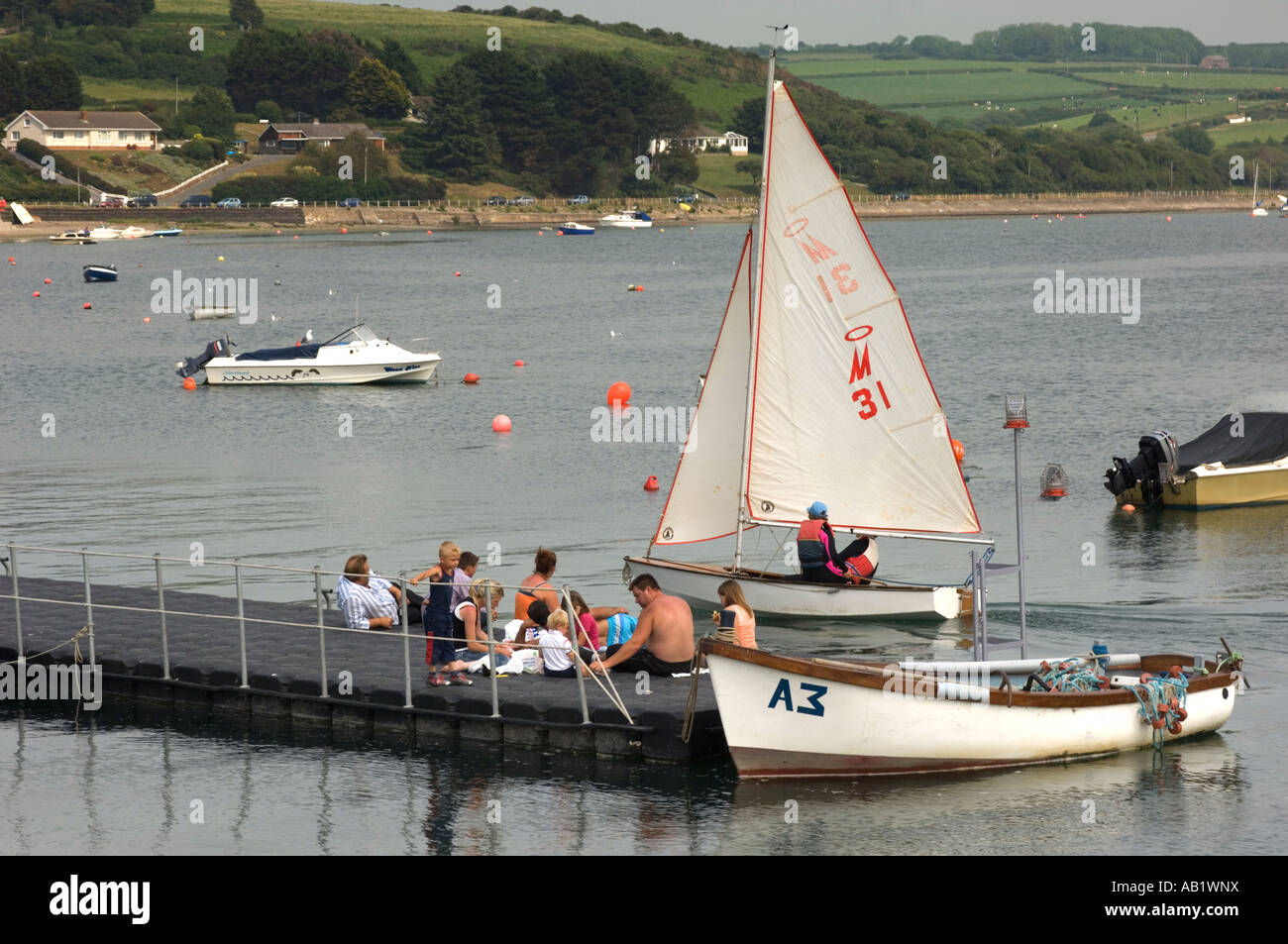 Dinghy Yachting at Gwbert on Teifi Estuary 3 miles down river from Cardigan west wales UK - Stock Image