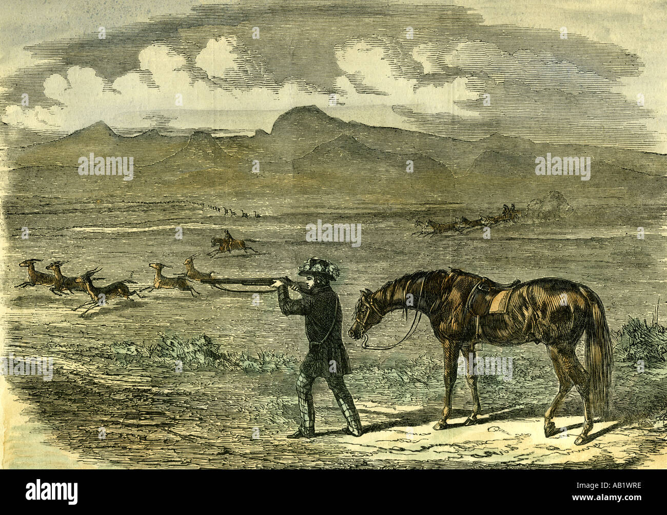 South Africa Hunting 1850 - Stock Image