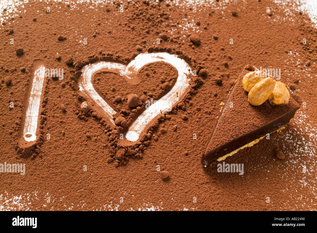 I heart chocolate tart symbolic picture FoodCollection - Stock Image