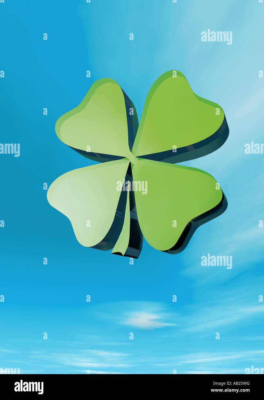 four leafed clover vierblaettriges Kleeblatt Gluecksklee Stock Photo