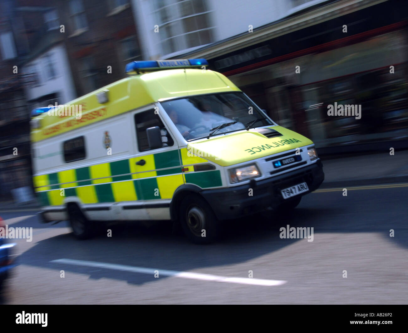 Ambulance on a call out, Britain UK - Stock Image