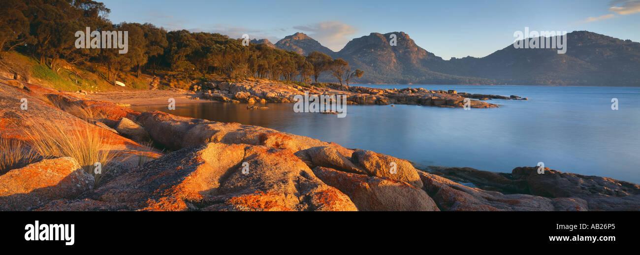 the Hazards from Coles Bay Freycinet National Park Tasmania Australia - Stock Image
